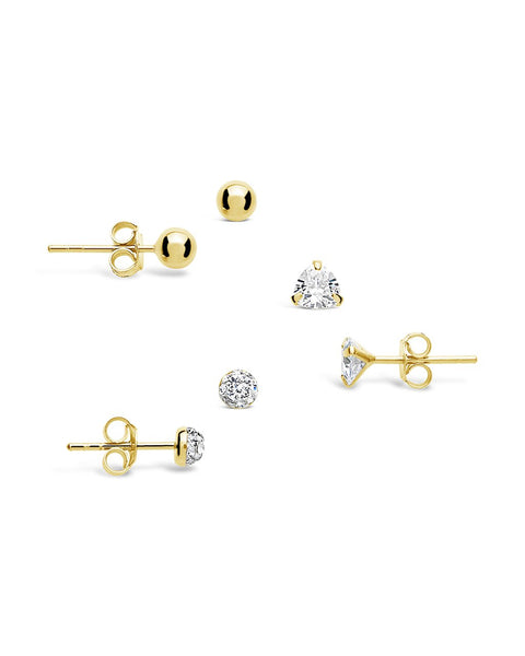 Sterling Silver CZ & Bead Stud Earring Set of 3 Earring Sterling Forever