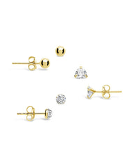 Sterling Silver CZ & Bead Stud Earring Set of 3 - Sterling Forever