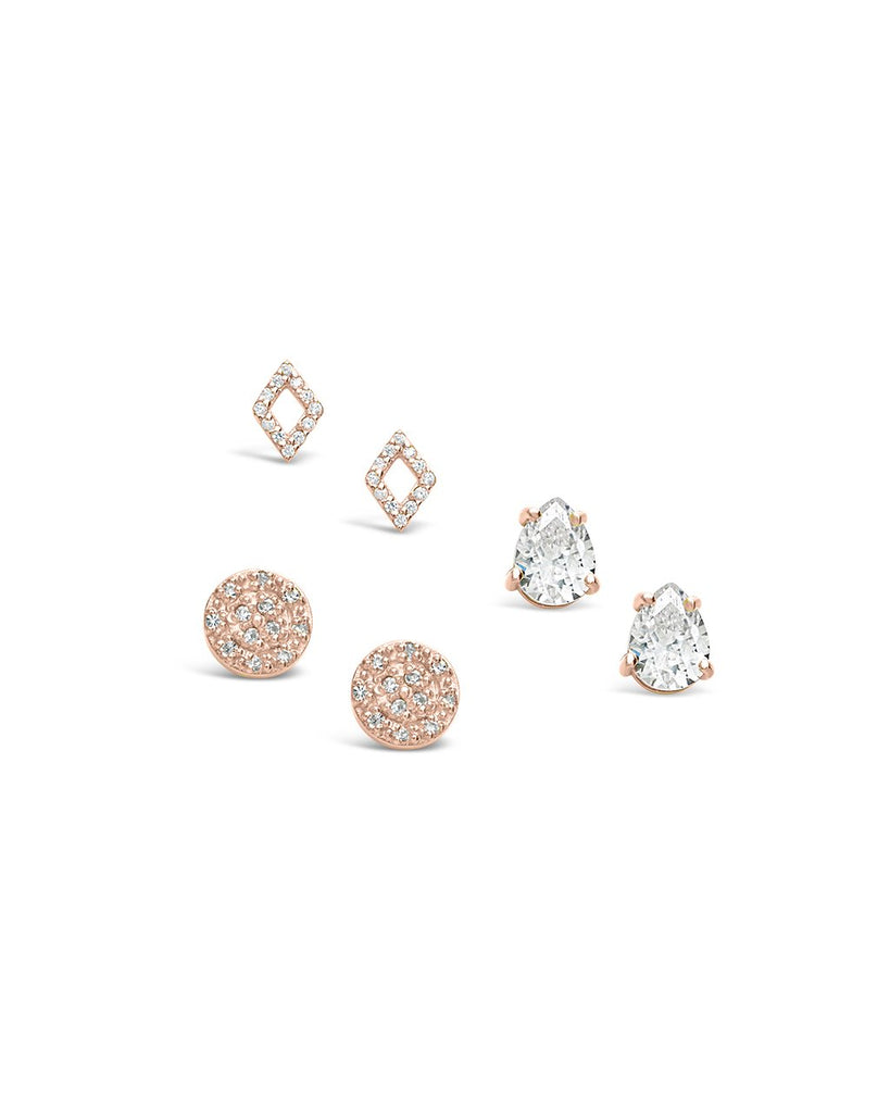 Sterling Silver CZ Geo Stud Earring Set of 3 - Sterling Forever