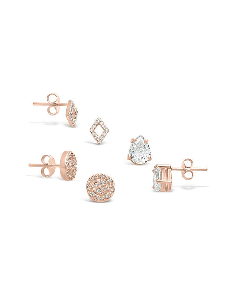 Sterling Silver CZ Geo Stud Earring Set of 3