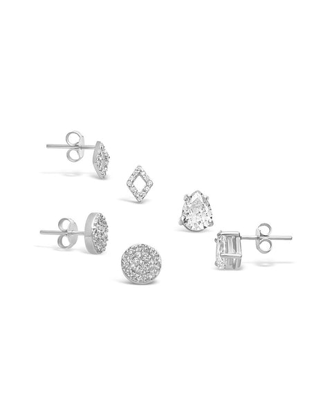 Sterling Silver CZ Geo Stud Earring Set of 3 Earring Sterling Forever