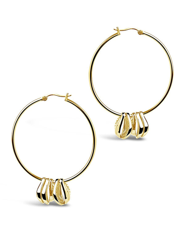 Puka Shell Charm Hoops - Sterling Forever