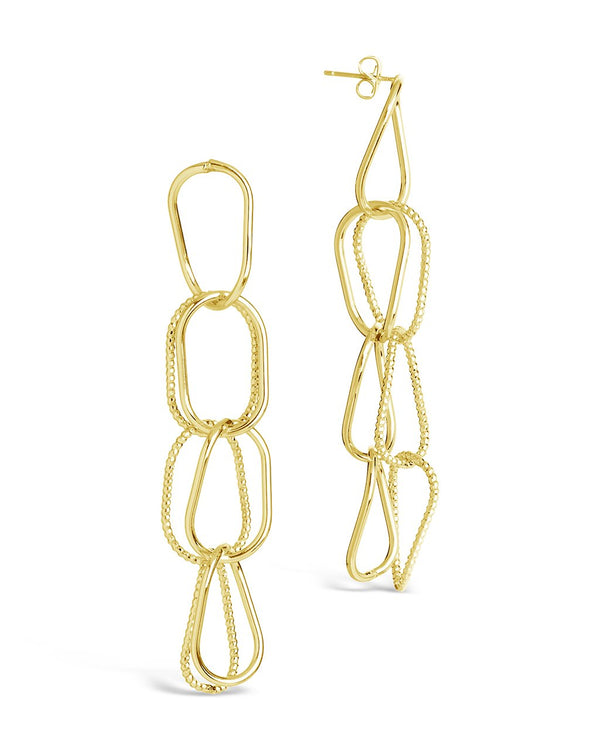 Textured Link Drop Earrings - Sterling Forever