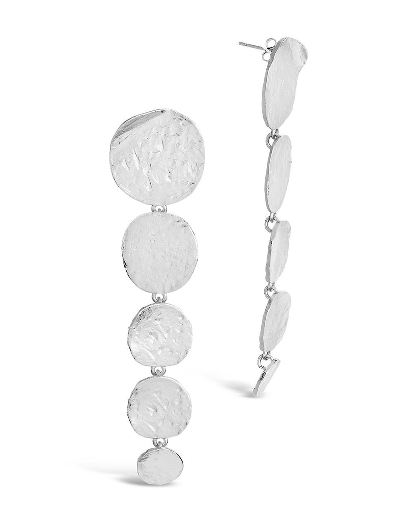 Textured Disk Drop Earrings - Sterling Forever
