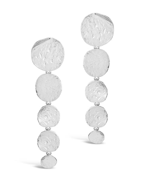 Textured Disk Drop Earrings Earring Sterling Forever Silver