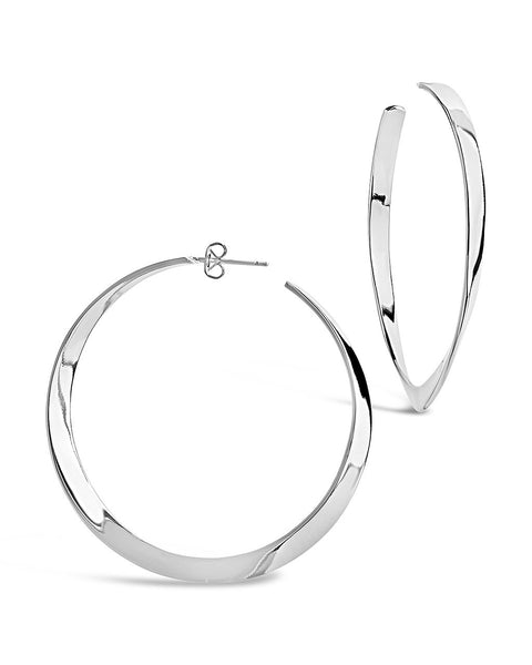 Graduated Twist Hoops Earring Sterling Forever Silver