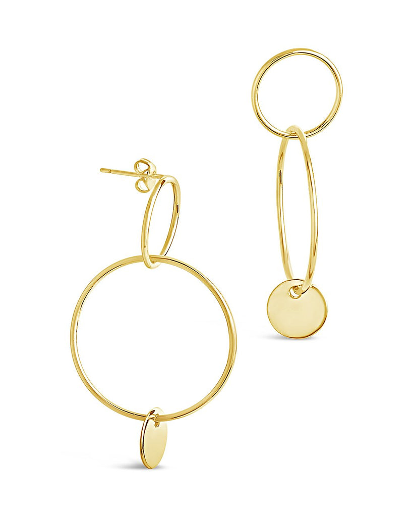 Linked Drop Hoops with Enamel Disk - Sterling Forever
