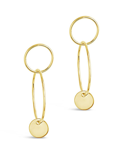 Linked Drop Hoops with Enamel Disk Earring Sterling Forever Gold