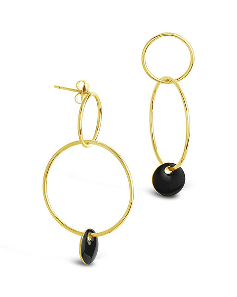 Linked Drop Hoops with Enamel Disk Earring Sterling Forever