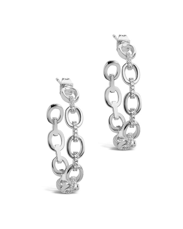 CZ Chain Link Hoops - Sterling Forever
