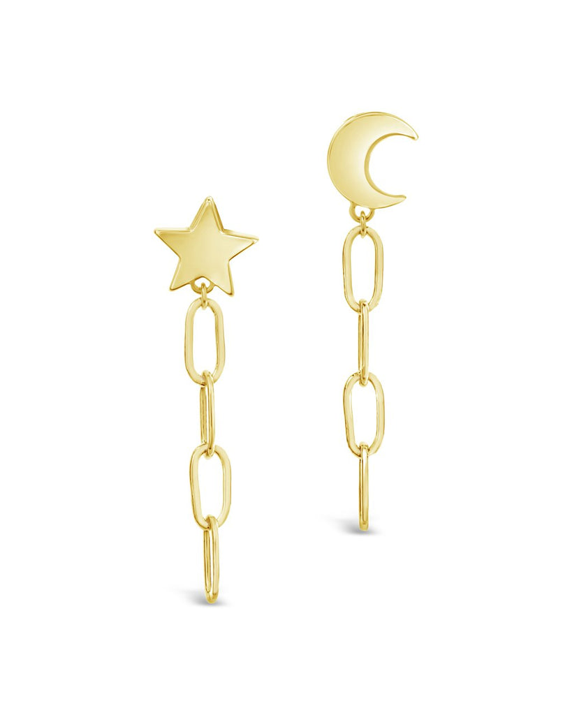 Moon & Star Dangle Chain Link Studs - Sterling Forever