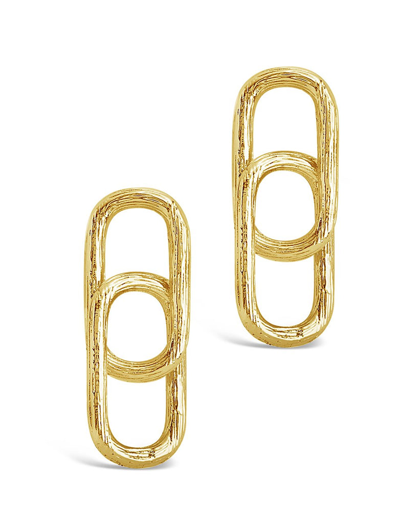 Textured Chain Link Earrings - Sterling Forever