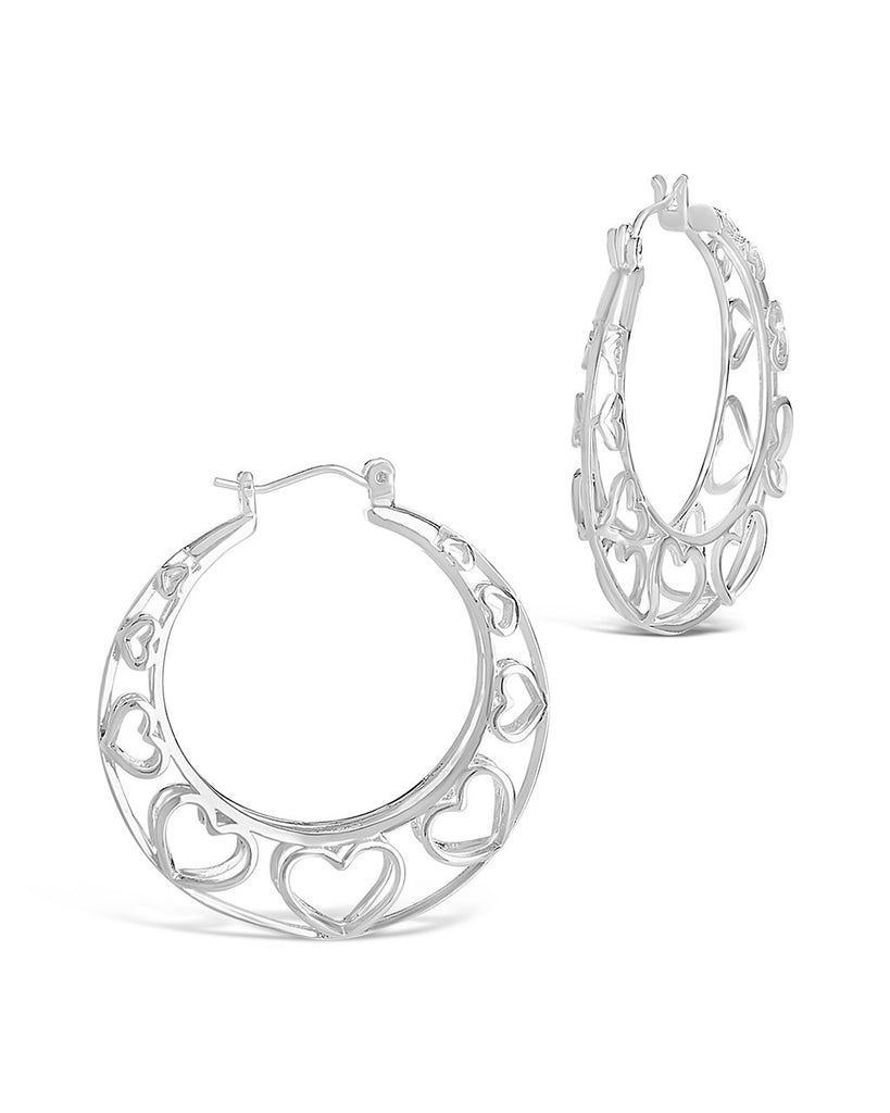 Cut Out Heart Hoops - Sterling Forever