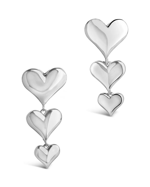Graduated Heart Drop Studs Earring Sterling Forever Silver