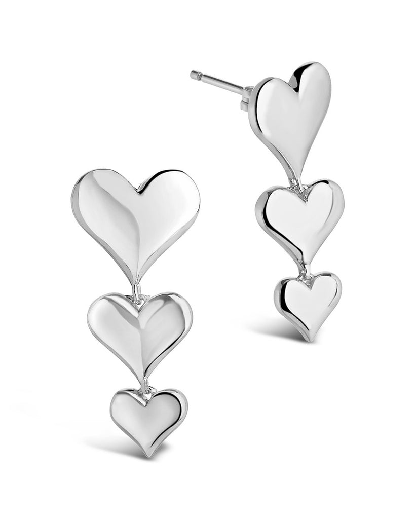 Graduated Heart Drop Studs - Sterling Forever