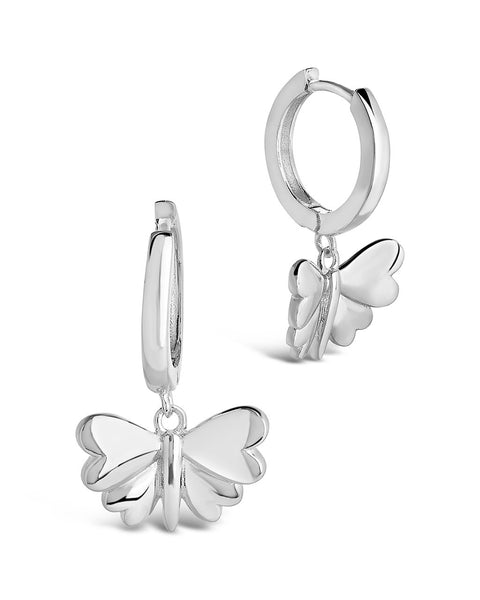 Heart Wing Butterfly Micro Hoops Earring Sterling Forever