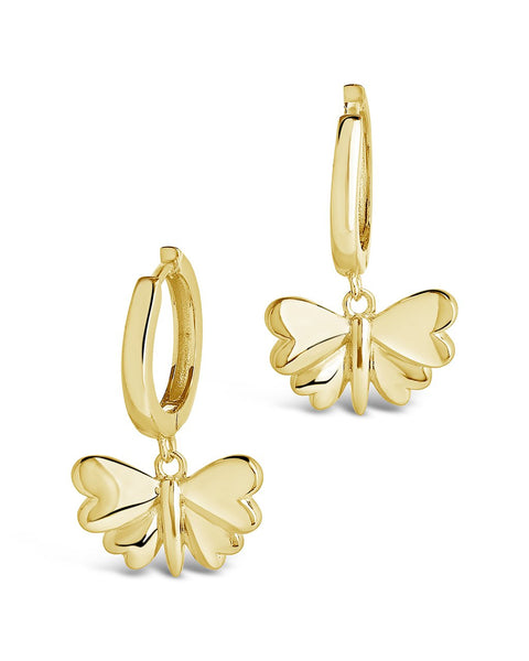 Heart Wing Butterfly Micro Hoops Earring Sterling Forever Gold