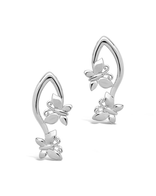 Double Butterfly Dangle Earrings - Sterling Forever