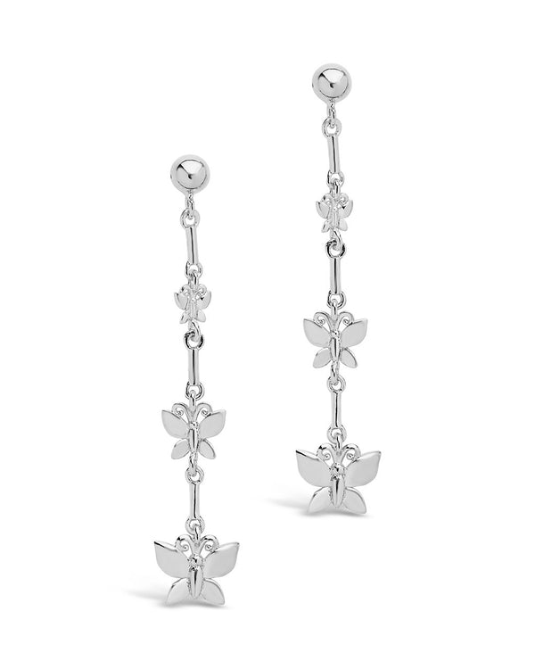Triple Butterfly Dangle Earrings - Sterling Forever