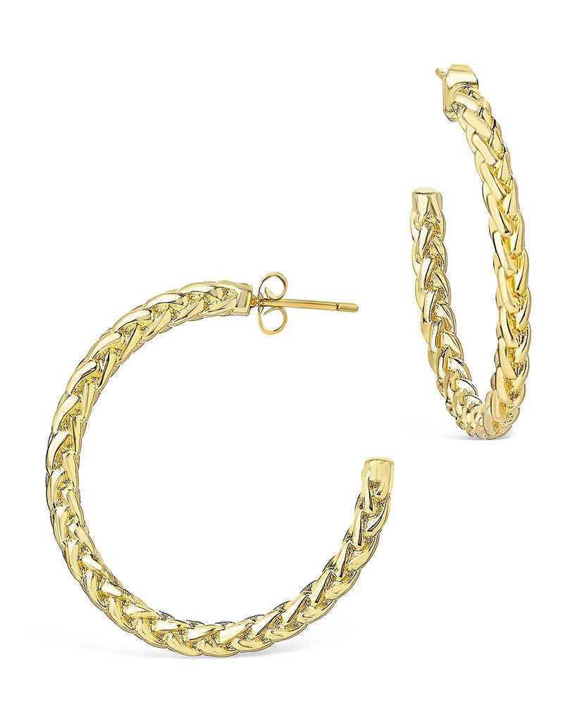 Thick Braided Rope Chain Hoops Earring Sterling Forever Gold
