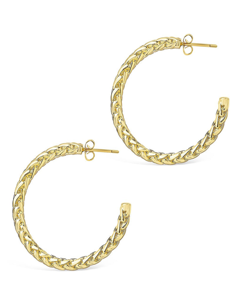 Thick Braided Rope Chain Hoops Earring Sterling Forever