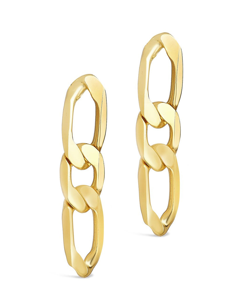 Linked Chain Drop Stud Earring Sterling Forever Gold