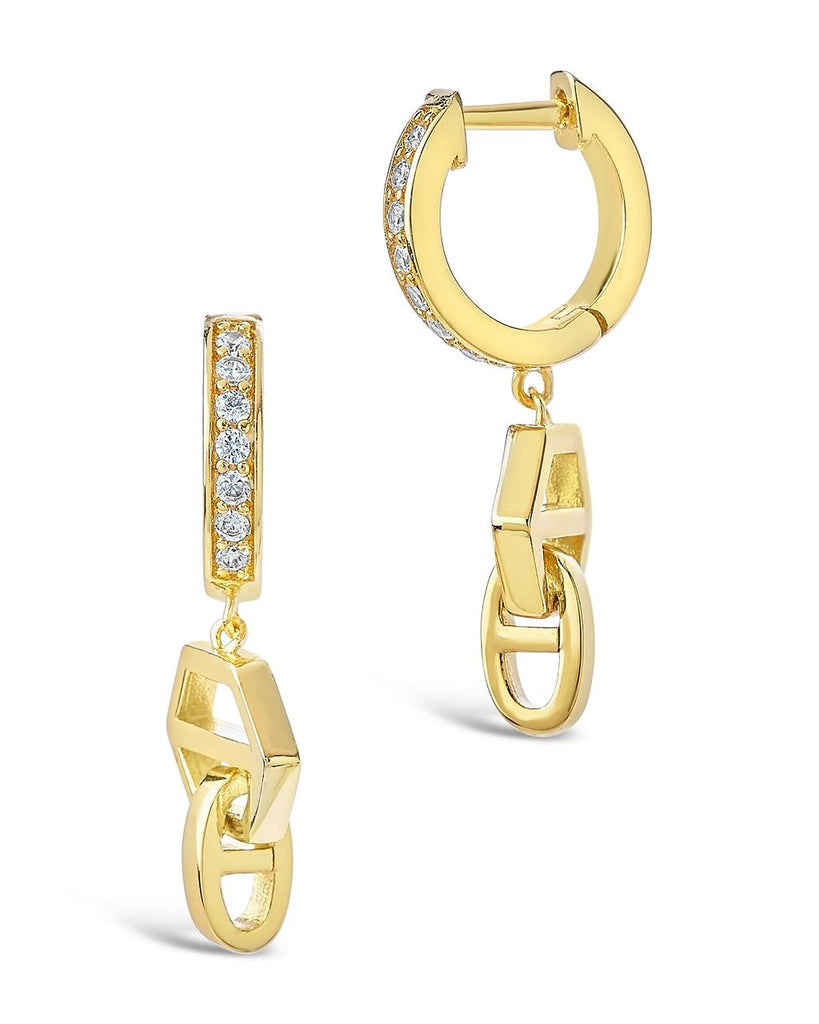 Geometric Anchor Chain Micro Hoops Earring Sterling Forever