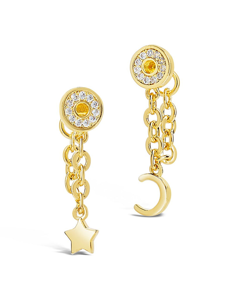 Moon & Star Chain Drop Earrings Earring Sterling Forever Gold