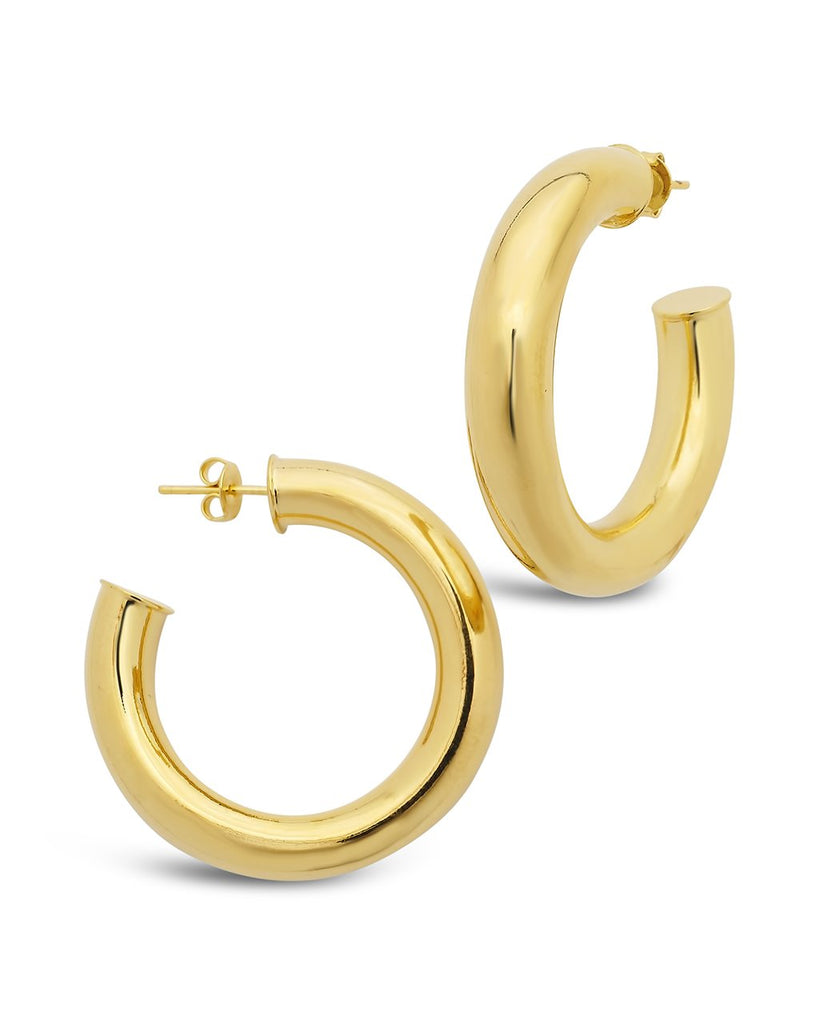Thick Hollow Hoops Earring Sterling Forever Gold