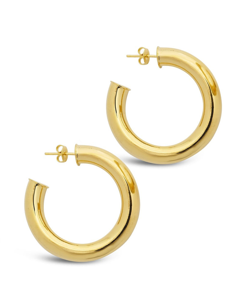 Thick Hollow Hoops Earring Sterling Forever