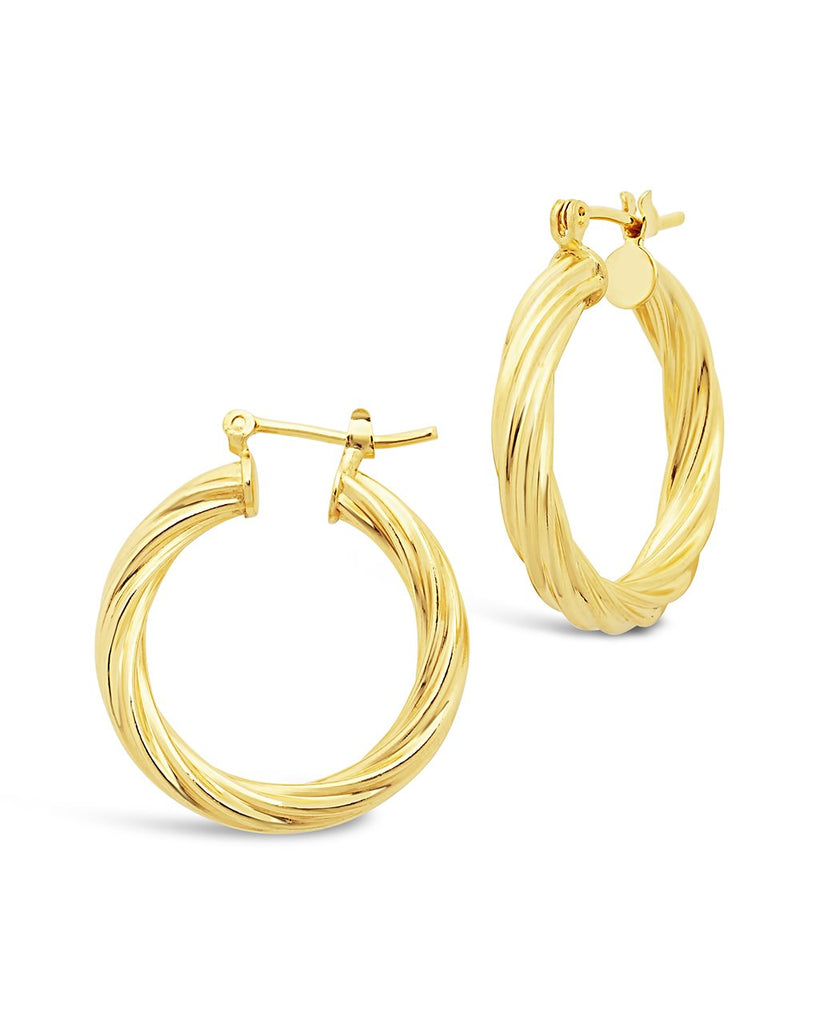 Twisted Hollow Hoops Earring Sterling Forever Gold