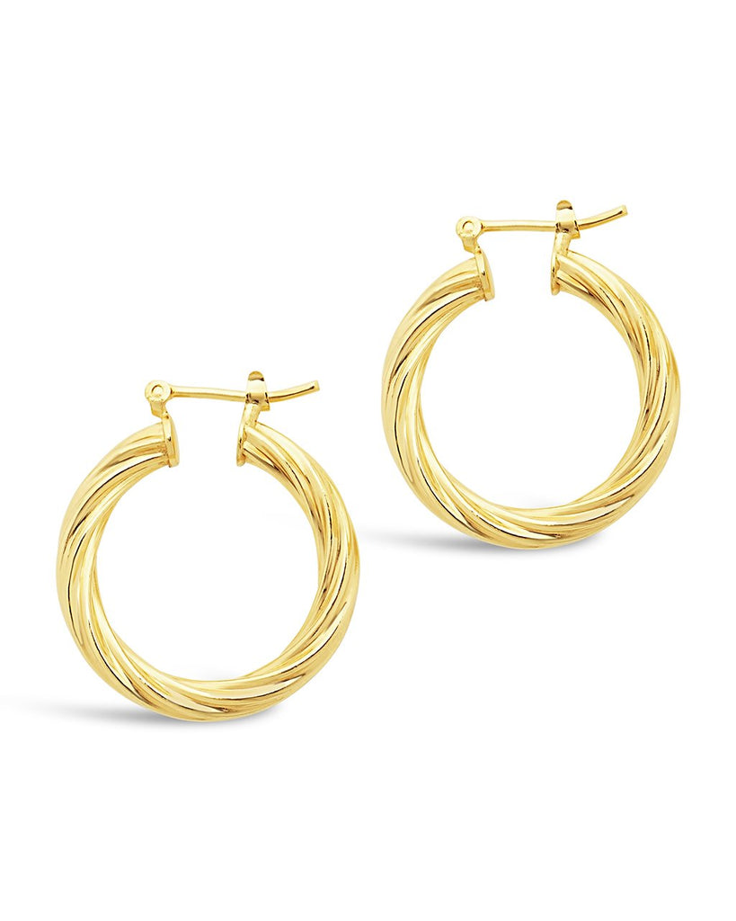 Twisted Hollow Hoops Earring Sterling Forever