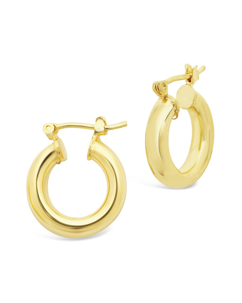 "Chunky Tube Hoops Earring Sterling Forever Gold Small (0.75"")"