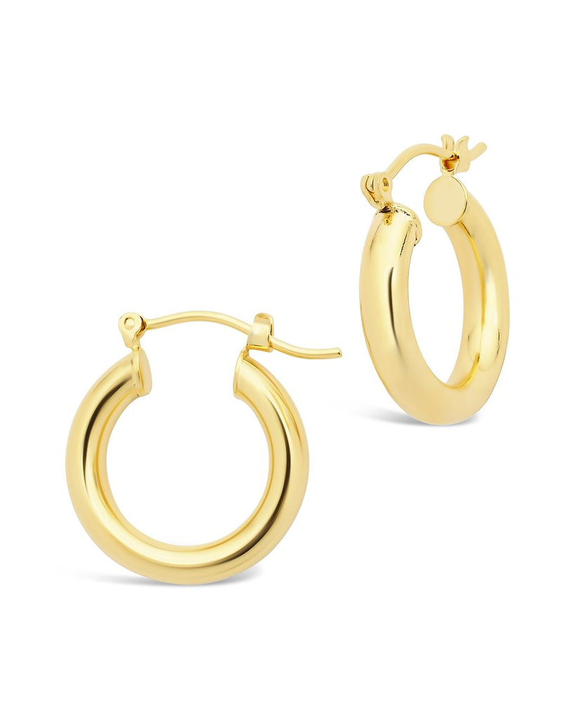 "Chunky Tube Hoops Earring Sterling Forever Gold Medium (1"")"