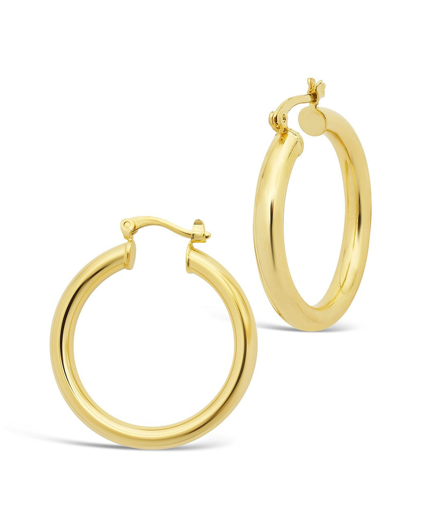 "Chunky Tube Hoops Earring Sterling Forever Gold Large (1.25"")"