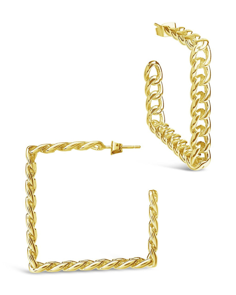 Square Cuban Link Hoops Earring Sterling Forever Gold