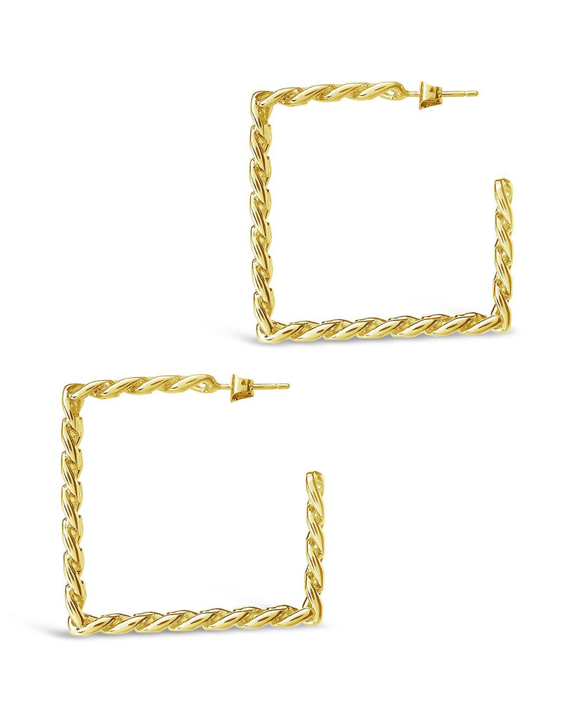 Square Cuban Link Hoops Earring Sterling Forever