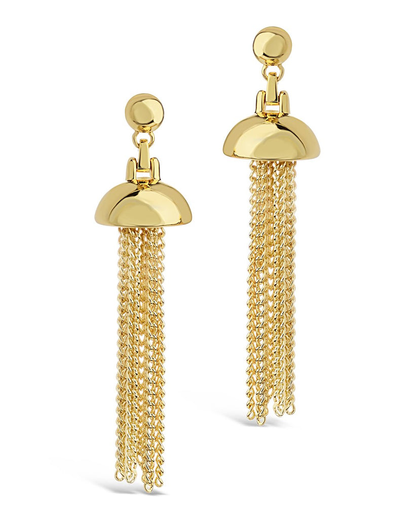 Chain Tassel Dangle Studs Earring Sterling Forever Gold