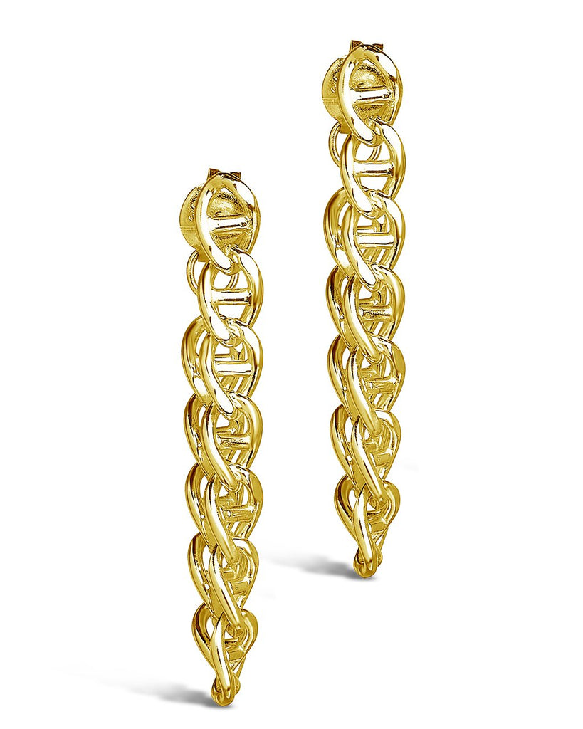 Anchor Chain Drop Studs Earring Sterling Forever Gold