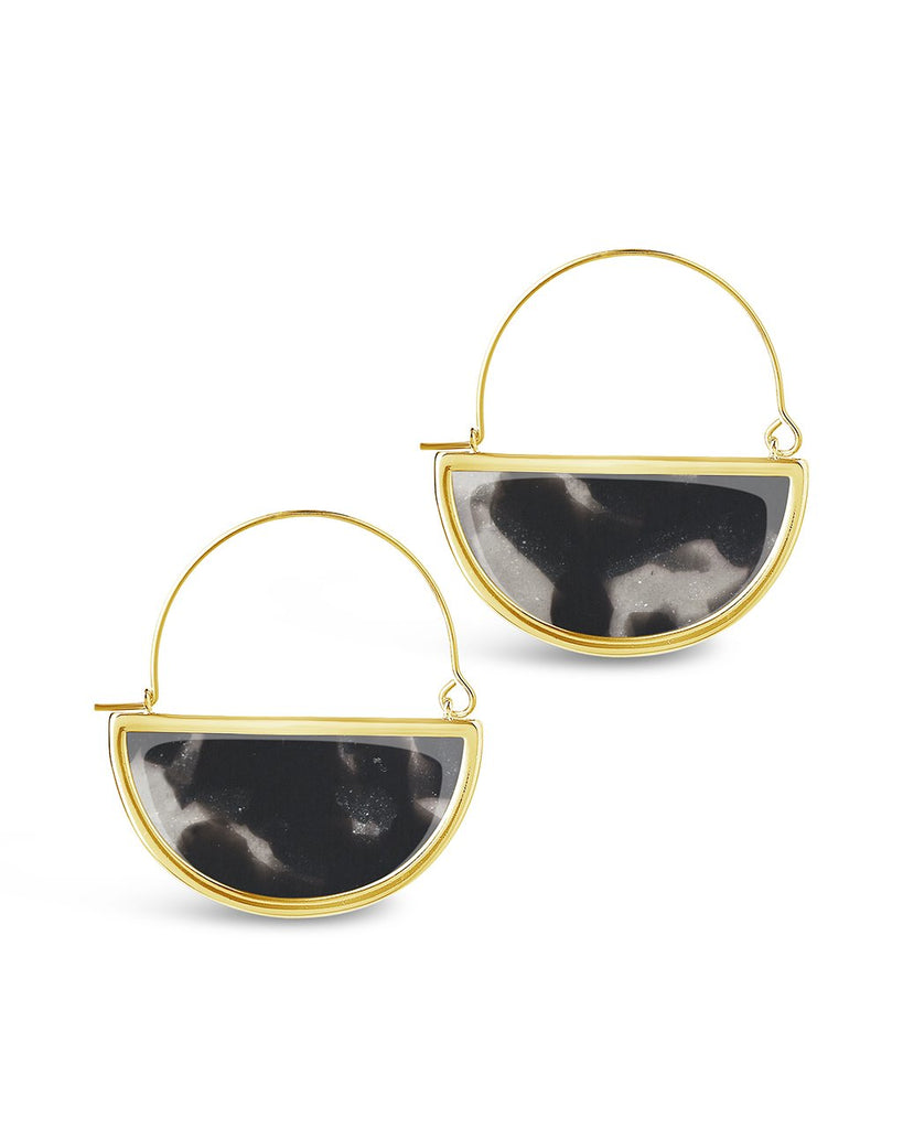Resin Half Moon Dangle Earrings - Sterling Forever
