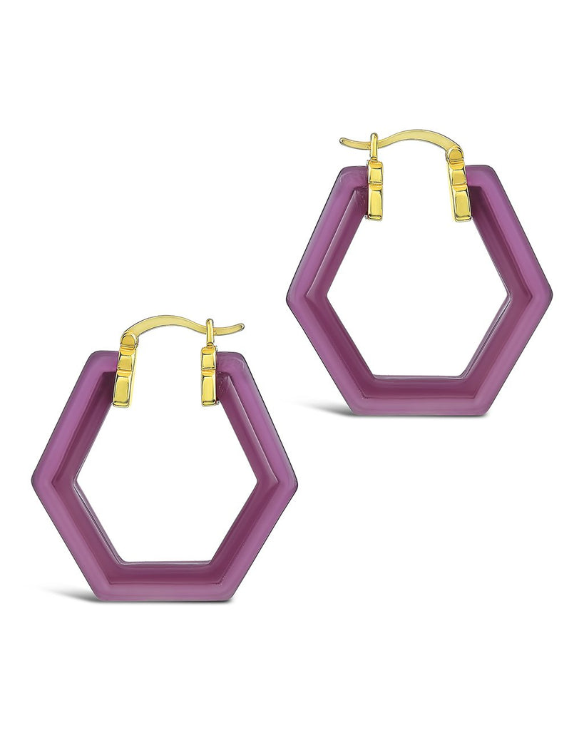Lucite Hex Hoops Earring Sterling Forever Gold Sangria