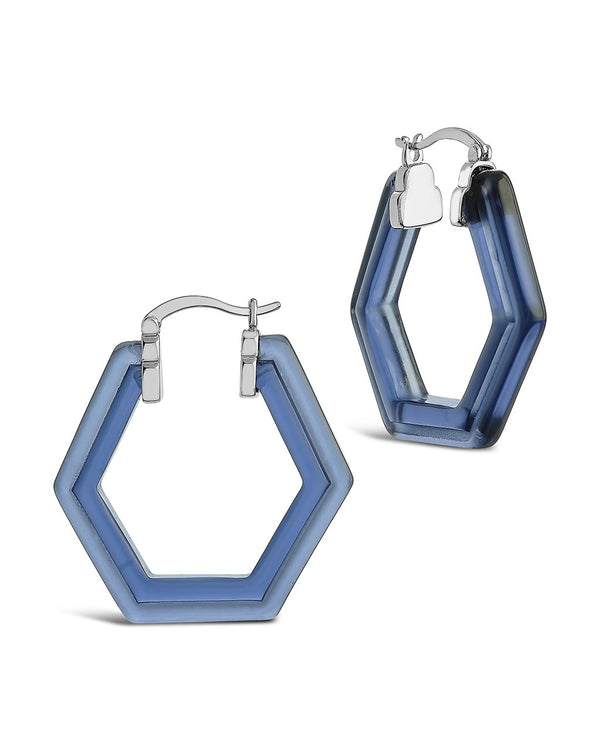 Lucite Hex Hoops Earring Sterling Forever Silver Sapphire