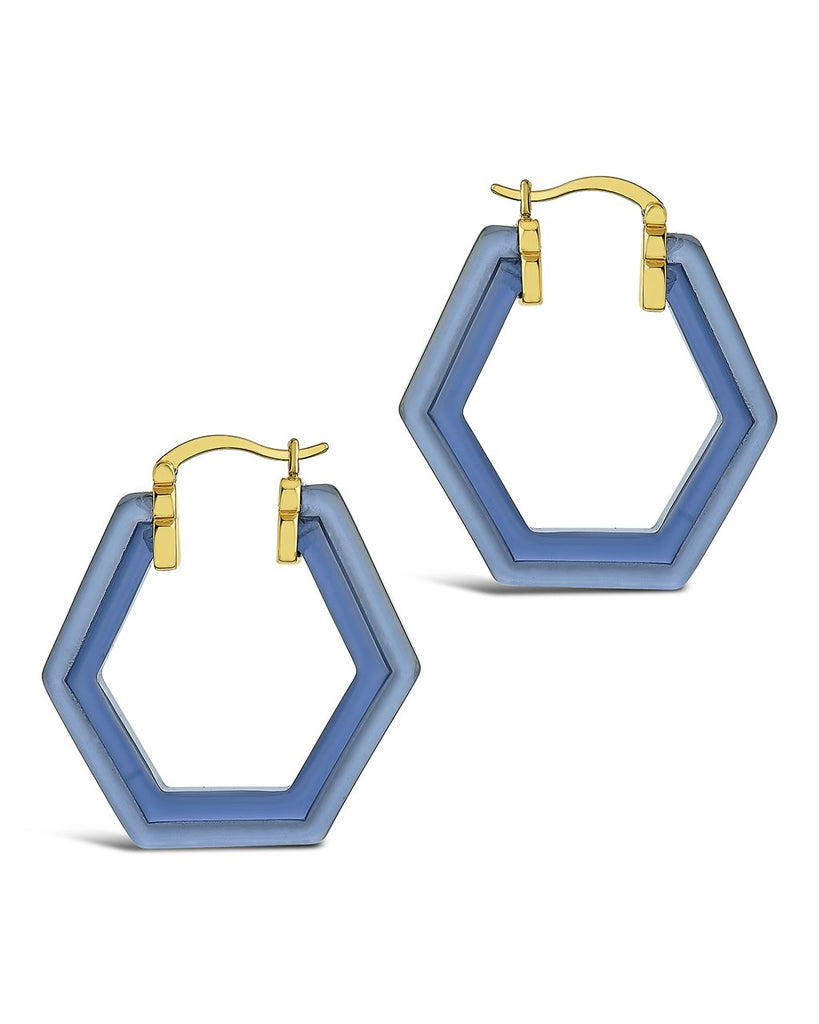 Lucite Hex Hoops Earring Sterling Forever Gold Sapphire