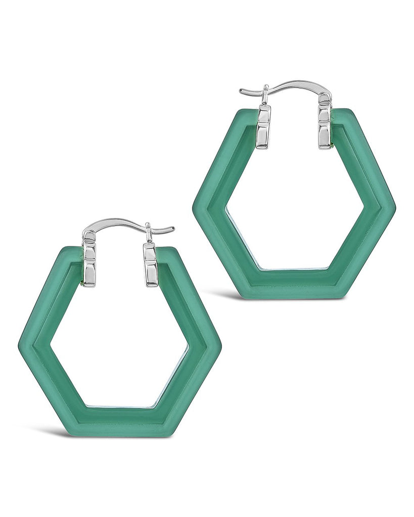 Lucite Hex Hoops Earring Sterling Forever Silver Forest