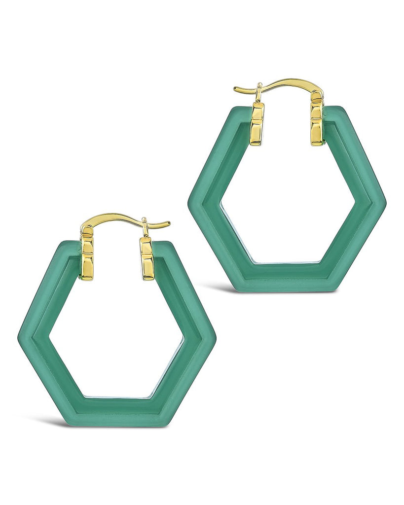 Lucite Hex Hoops Earring Sterling Forever Gold Forest