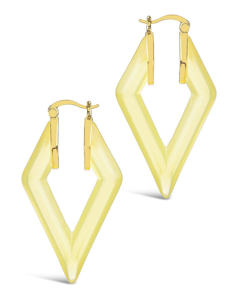 Lucite Diamond Hoops Earring Sterling Forever Gold Canary