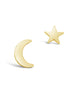 Sterling Silver Crescent & Star Asymmetrical Studs - Sterling Forever