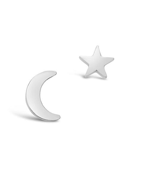Sterling Silver Crescent & Star Asymmetrical Studs