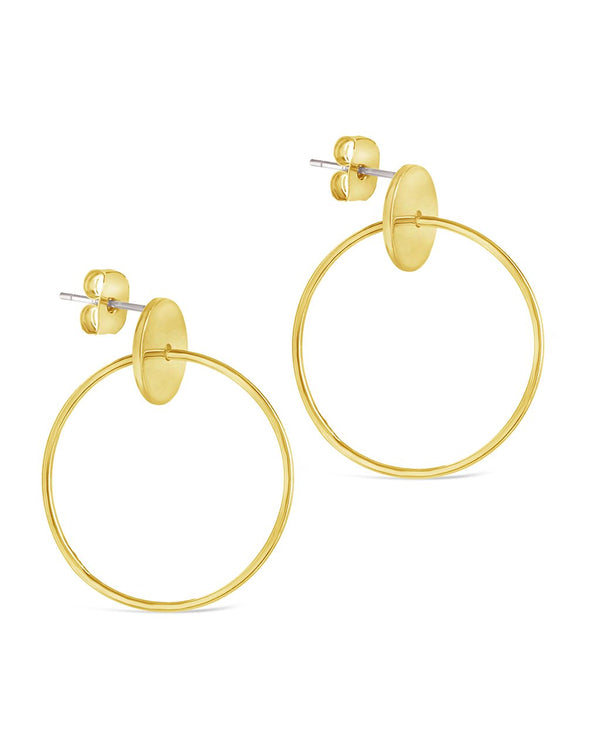 Solid Circle Stud Drop Earrings - Sterling Forever