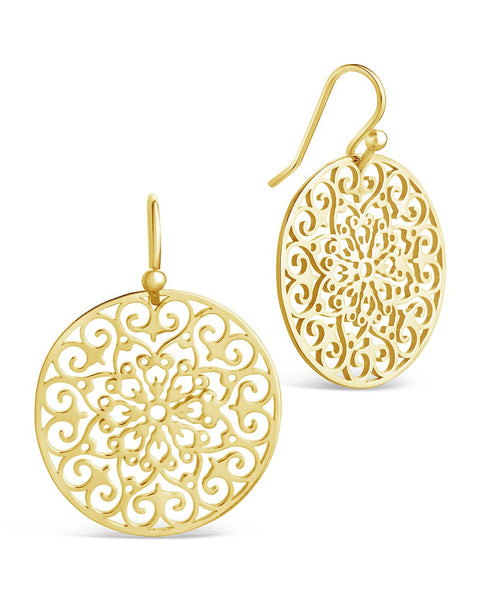 Round Filigree Dangle Earrings